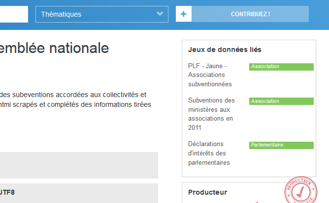 """Fictitious side pane on data.gouv.fr with a list of """"linked datasets"""", and the name of the foreign key in green."""